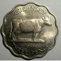 Guernsey - 1956 - 3 Pence - UNC Lustre