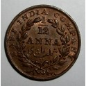 British India - 1835 - 1/12 Anna - AUNC Good lustre