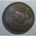 "1953 Farthing, ""+"" points to a space & ""I"" of ""Farthing"" points to a border tooth - EF (CG1953-E2-2B)"