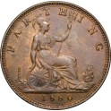 1880 Farthing - Obverse 6, 3 berries - EF Lustre Traces (CGS Graded 60) (CG1880-VB-1B)